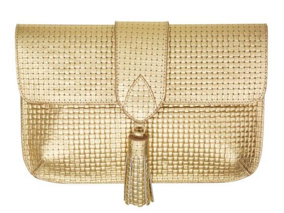 MELISSA ODABASH Gold Woven Clutch
